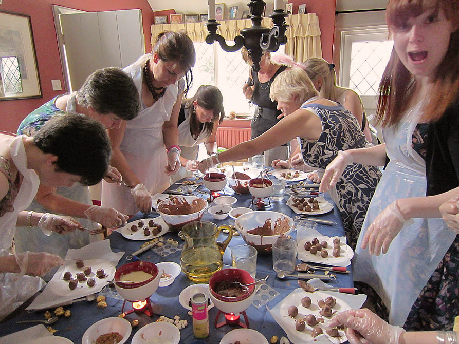 Ladies at a chocolate making Hen party having fun